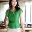 เสื้อทำงานผู้หญิงแขนสั้น ผ้าชีฟอง สีเขียว thumbnail 14