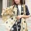 ผ้าพันคอ ผ้าคลุมไหล่ ลายดาว Stars สีน้ำตาล - ผ้าพันคอ Silk Chiffon - size 170*70 cm thumbnail 2