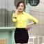 เสื้อเชิ้ตแฟชั่นผู้หญิงแขนยาว สีเหลือง thumbnail 4