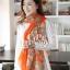 ผ้าพันคอแฟชั่นลายเสือ leopard ผ้าชีฟอง 160x70 cm สีส้ม thumbnail 2