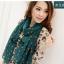 ผ้าพันคอแฟชั่นลายจุด Polka Dot : สี dark green - ผ้าพันคอ Silk Chiffon 160 x 45 cm thumbnail 4