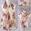 ผ้าพันคอลายโบว์ : Bow print scarf สีครีม - ผ้าชีฟอง 160 x 45 cm thumbnail 5