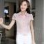เสื้อทำงานผ้าลูกไม้แขนสั้นแฟชั่นน่ารักๆสีชมพู thumbnail 3