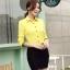 เสื้อเชิ้ตแฟชั่นผู้หญิงแขนยาว สีเหลือง thumbnail 3