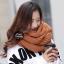 ผ้าพันคอไหมพรมถัก Knit Scarf - size 160x30 cm - สี Brown thumbnail 4