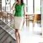 เสื้อทำงานผู้หญิงแขนสั้น ผ้าชีฟอง สีเขียว thumbnail 8