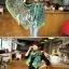 ผ้าพันคอลายลูกน้ำ Paisley Pattern : สีครามเขียว - ผ้าพันคอ Cotton - 180x80 cm thumbnail 5