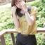"""""""พร้อมส่งค่ะ""""เสื้อผ้าแฟชั่นสไตล์เกาหลีราคาถูก Brand Catworld เสื้อสีเหลืองหม่น คอปกสีดำ กระดุมหน้า แขนตุ๊กตา thumbnail 1"""