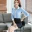 เสื้อเชิ้ตทำงานผู้หญิงแขนยาว สีฟ้า ปกสีขาว เป็นชุดยูนิฟอร์มได้ thumbnail 5