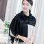 ผ้าพันคอ ผ้าคลุมพัชมีนา Pashmina scarf size 160 x 60 cm - สีดำ thumbnail 1