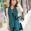 ผ้าพันคอแฟชั่นลายจุด Polka Dot : สี dark green - ผ้าพันคอ Silk Chiffon 160 x 45 cm thumbnail 6