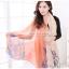 ผ้าพันคอลายดอกคาเนชั่น Carnation : สีส้ม ผ้า Viscose size 180x90 cm thumbnail 1