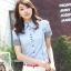 เสื้อเชิ๊ตผู้หญิงแขนสั้น สีฟ้า แฟชั่นสำหรับสาวออฟฟิศ thumbnail 1