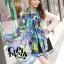 ผ้าพันคอแฟชั่น Retro Graphic : สีม่วง ผ้าชีฟอง size 150x50 cm thumbnail 6