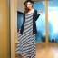 """""""พร้อมส่ง""""เสื้อผ้าแฟชั่นสไตล์เกาหลีราคาถูก set 2 ชิ้น เสื้อคลุมตัวยาวแขนยาวสีดำ+ Maxi dress เดรสยาวสายเดี่ยวลายขวางสีขาวดำ ไม่มีซับใน thumbnail 1"""