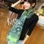 ผ้าพันคอลายลูกน้ำ Paisley Pattern : สีครามเขียว - ผ้าพันคอ Cotton - 180x80 cm thumbnail 2