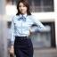 เสื้อเชิ้ตทำงานผู้หญิงแขนยาว สีฟ้า แบบเรียบๆ thumbnail 5