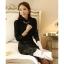 เสื้อเชิ้ตทำงานแขนยาวสีดำ คอเต่าประดับพลอย เรียบหรู thumbnail 4