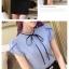 เสื้อเชิ้ตทำงานแขนสั้นสีฟ้า โบว์เล็ก เป็นชุดยูนิฟอร์ม ชุดพนักงานออฟฟิต thumbnail 4