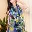 ผ้าพันคอแฟชั่น Retro Graphic : สีม่วง ผ้าชีฟอง size 150x50 cm thumbnail 5