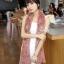 ผ้าพันคอแฟชั่น Magic Scarf - ผ้าพันคอแปลงร่าง เนื้อผ้าไลคราสี Pink Cherry thumbnail 2