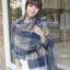 ผ้าพันคอ ผ้าคลุมพัชมีนา Pashmina ลายตาราง size 200x60 cm - สี ligh blue thumbnail 7