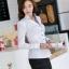 เสื้อเชิ้ตผู้หญิงแขนยาวสีขาวขอบสีฟ้า คอวี thumbnail 6