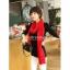 ผ้าพันคอไหมพรม ผ้า cashmere scarf size 180x30 cm - สี red thumbnail 9