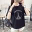 เสื้อยืดแฟชั่น ลายหอไอเฟลอาร์ตๆ สีดำ 584(A)#772