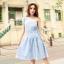 """size M """"พร้อมส่ง""""เสื้อผ้าแฟชั่นสไตล์เกาหลีราคาถูก Brand Weiweimei เดรสสีฟ้าอ่อน แขนกุด ไหล่เฉียง เอวรูด ไม่มีซับใน thumbnail 1"""