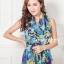 ผ้าพันคอแฟชั่น Retro Graphic : สีม่วง ผ้าชีฟอง size 150x50 cm thumbnail 1