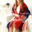 ผ้าพันคอ ผ้าคลุมพัชมีนา Pashmina scarf ลายตาราง size 200x60 cm - สี Red blue thumbnail 1