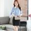 เสื้อเชิ้ตทำงานผู้หญิงแขนยาว สีฟ้า ปกสีขาว เป็นชุดยูนิฟอร์มได้ thumbnail 10