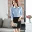 เสื้อเชิ้ตทำงานผู้หญิงแขนยาว สีฟ้า ปกสีขาว เป็นชุดยูนิฟอร์มได้ thumbnail 6