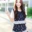 """""""พร้อมส่ง"""" เสื้อผ้าแฟชั่นไทย setสื้อ + กระโปรงลายคัพเค้ก -สีกรม thumbnail 1"""