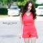 """""""พร้อมส่ง""""เสื้อผ้าแฟชั่นไทย Set เสื้อ ผูกโบว์ + กางเกง (Beauvita) -สีส้ม thumbnail 1"""