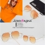 ASOS Angular Hexagon Aviator Sunglasses With Coloured Fade Orange Lens thumbnail 2