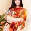 ผ้าพันคอแฟชั่น Retro Graphic : สีส้ม ผ้าชีฟอง size 150x50 cm thumbnail 9