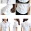 เสื้อเชิ้ตผู้หญิงแขนสั้นสีขาว ใส่ทำงาน เรียบแบบมีสไตล์ thumbnail 6