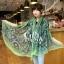 ผ้าพันคอลายลูกน้ำ Paisley Pattern : สีครามเขียว - ผ้าพันคอ Cotton - 180x80 cm thumbnail 4