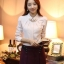 เสื้อทำงานผู้หญิงแขนยาวสีขาวน่ารักๆ ผ้าใส่สบาย thumbnail 1