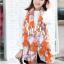 ผ้าพันคอแฟชั่นลายโซ่ Chiffon Coach : สีส้ม : ผ้าพันคอ Silk Chiffon - size 160x60 cm thumbnail 1