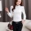 เสื้อทำงานผู้หญิงแขนยาวสีขาว ประดับลูกไม้แฟชั่นสวยหรู thumbnail 3