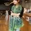 ผ้าพันคอลายลูกน้ำ Paisley Pattern : สีครามเขียว - ผ้าพันคอ Cotton - 180x80 cm thumbnail 1