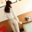 เสื้อเชิ้ตแฟชั่นทำงานผู้หญิงแขนยาวลูกไม้สีขาว ปกสีชมพูโอรส thumbnail 20