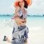 ผ้าคลุมเดินชายหาด ผ้าชายทะเล : ผ้าชีฟอง size 150x100 cm - ลายดอกไม้น้ำเงินพื้นขาว thumbnail 7