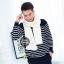 ผ้าพันคอไหมพรมถัก Knit Scarf - size 160x30 cm - สี White thumbnail 2