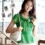 เสื้อทำงานผู้หญิงแขนสั้น ผ้าชีฟอง สีเขียว thumbnail 4