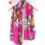 ผ้าพันคอลายดอกไม้ Colorful flower สี Pink ผ้าพันคอ Silk Chiffon - size 160 x 60 cm thumbnail 5