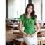 เสื้อทำงานผู้หญิงแขนสั้น ผ้าชีฟอง สีเขียว thumbnail 12